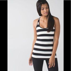 Lululemon cool racerback tank stripe black/cream
